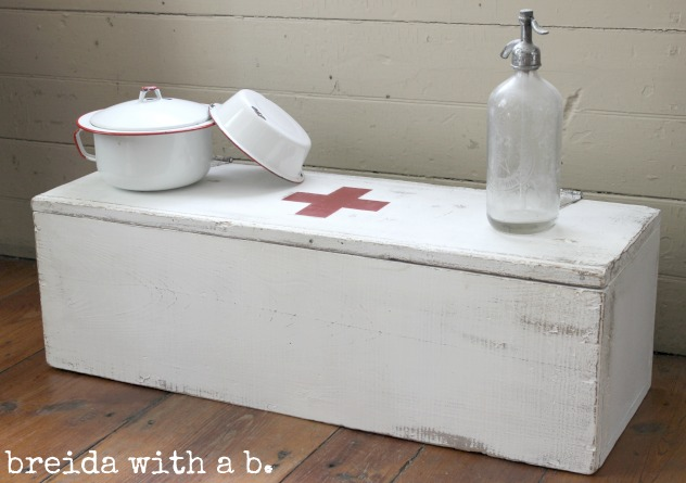 red cross crate, by breida with a b., featured on Funky Junk Interiors