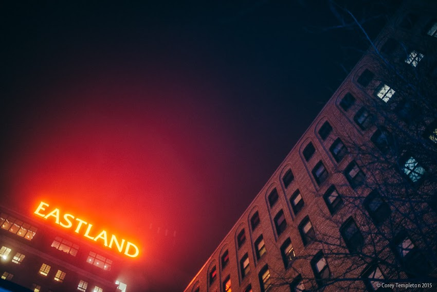 Portland, Maine USA December 2015 photo by Corey Templeton. A view from last evening, looking up at the old Eastland sign atop the Westin Portland Harborview Hotel.