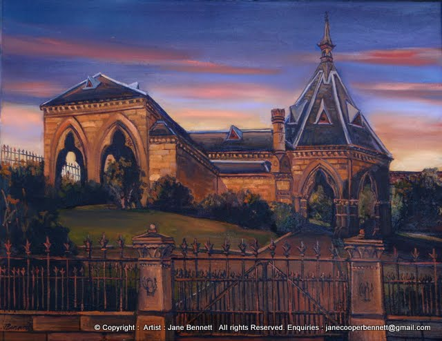 Mortuary Station Chippendale at night  painted by Jane Bennett artist