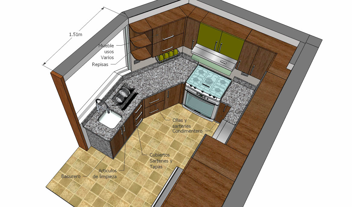 Oniria remodelaci n total de cocina de diez metros cuadrados for Cocinas de 3 metros de largo