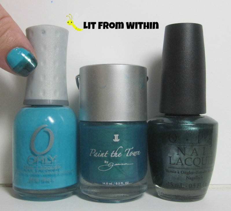 Bottle shot:  Orly Water Lily, Jessica Scene Stealer, and OPI Cuckoo For This Color.