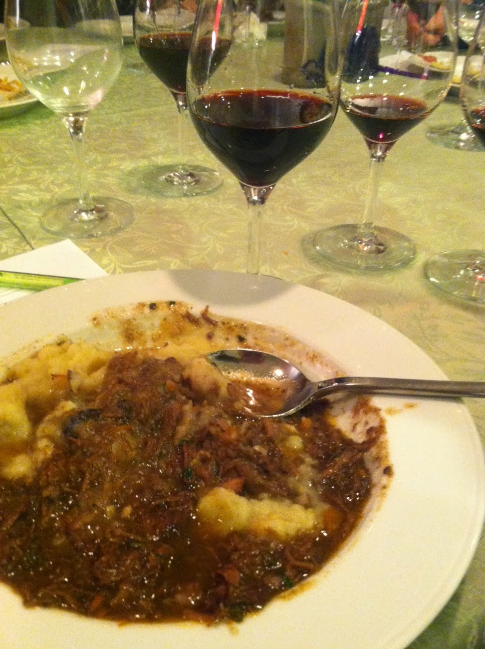 Tuscan Beef Stew served with red wine from Tuscany. Cooking Chat recipe.