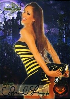 Bambi Lashell in a yellow and black skirt