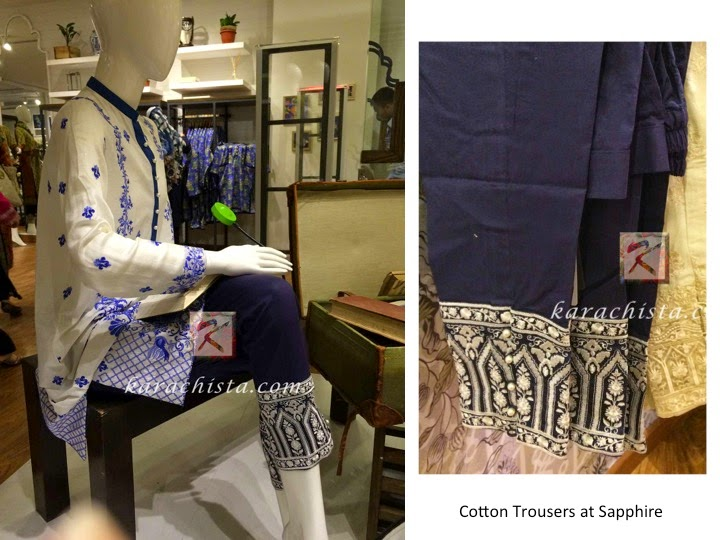 Blue and white embroidered trousers from Sapphire
