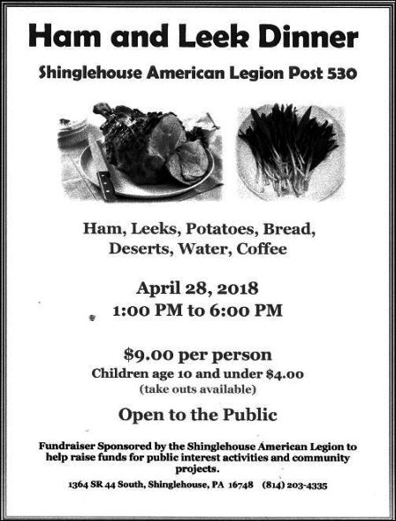 4-28 Ham & Leek Dinner, Shinglehouse