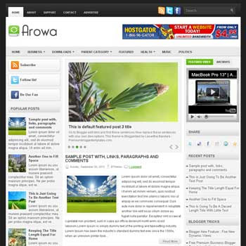 Arowa blog template.template blogger with image slider. magazine blogger template style. wordpress theme to blogger