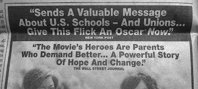 Close up of top headline that reads Sends a valuable message about US schools -- and unions… give this flick an Oscar now, New York Post