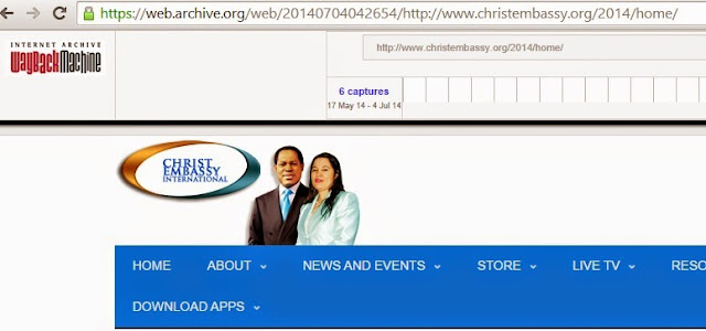 Pastor Chris and Anita Oyakhilome at the top of the Christ Embassy website July 2014