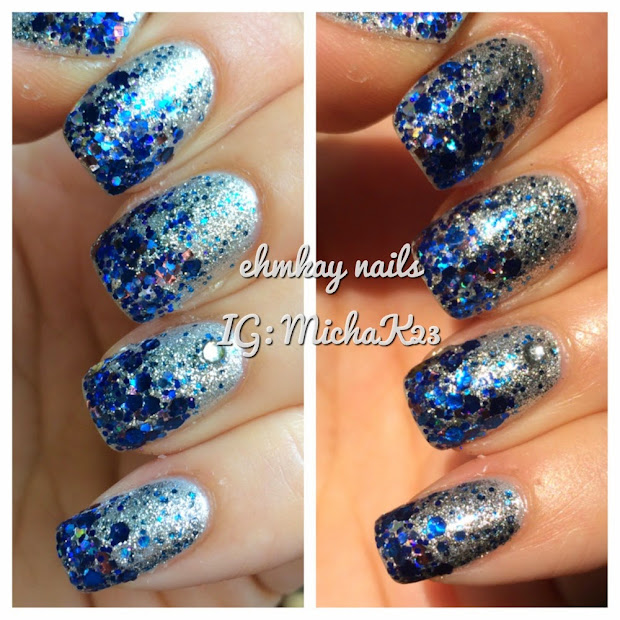 ehmkay nails blue and silver glitter