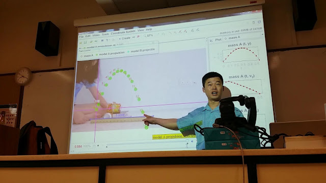 Tracker Modelling at Nanyang girl high with Joo Liak, showing the example of Student's Projectile Motion performance task - Singapore Tracker Digital Library Collection