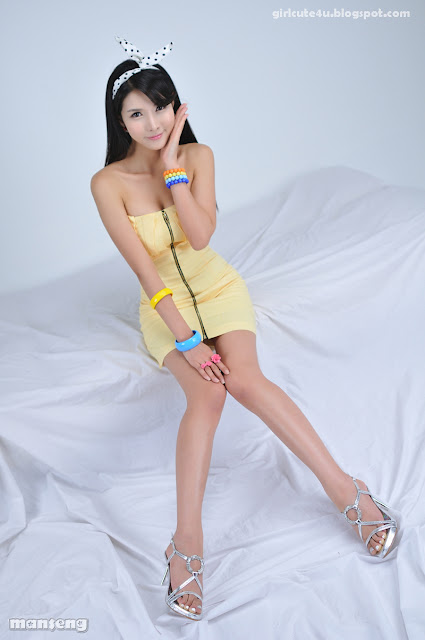5 Cha Sun Hwa-Yellow Mini Dress-very cute asian girl-girlcute4u.blogspot.com