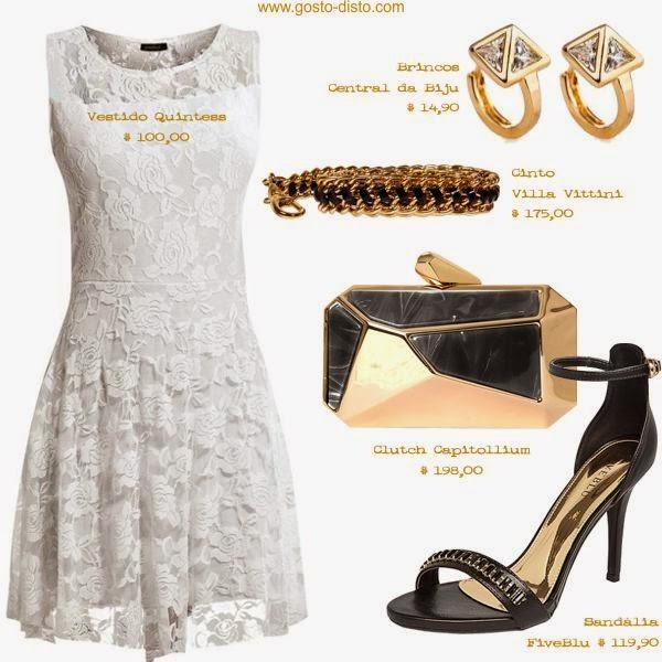Vestido de renda branca para o Réveillon