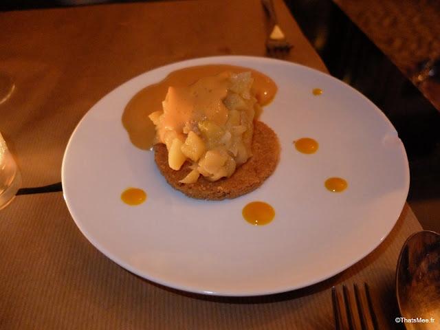 resto pollop vin cuisine du marché montorgueil Paris rue aboukir, pollop dessert pomme rotie caramel sablé