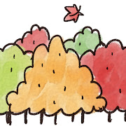 紅葉のイラスト「紅した森」