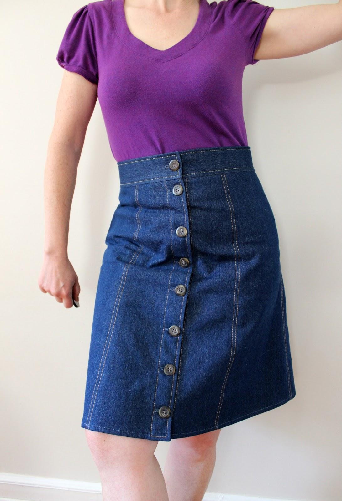 a sewing butterick 5649 button front denim skirt