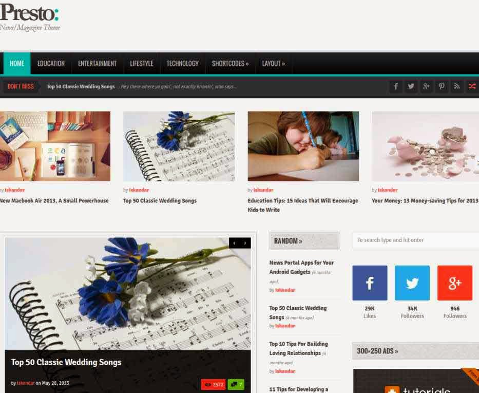Presto - Powerful Blog/Magazine WordPress Theme