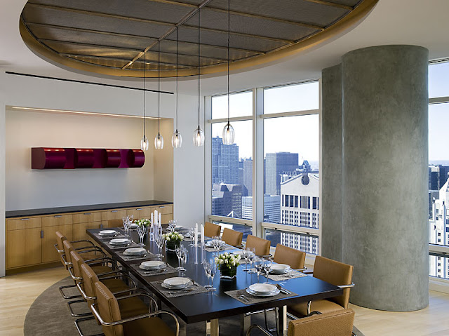 Photo of dinning table in dinning room inside of Bloomberg Tower penthouse