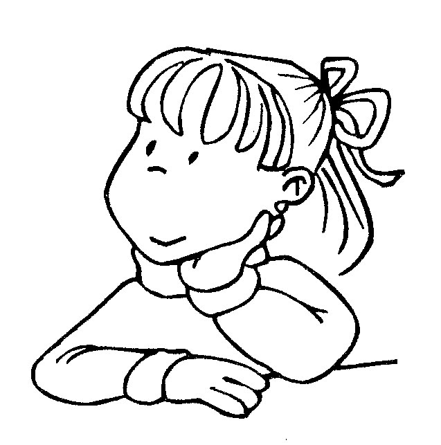 Child Thinking Coloring Page Sketch