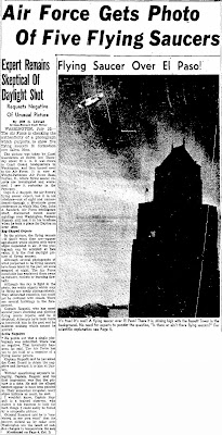 Air Force Gets Photo of Five Flying Saucers - El Paso Herald - Post 7-30-1952