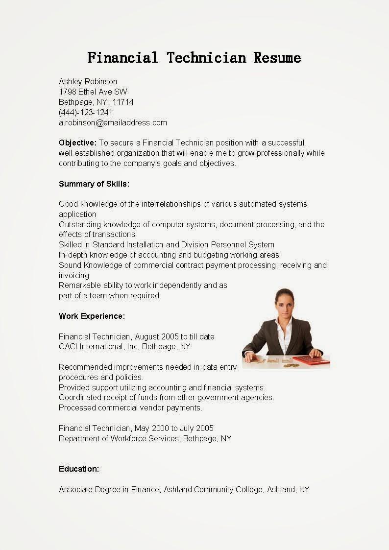 resume samples  financial technician resume sample