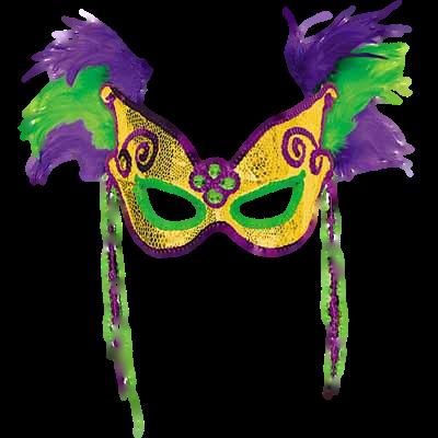 Máscara Carnaval PNG - Penas e contas