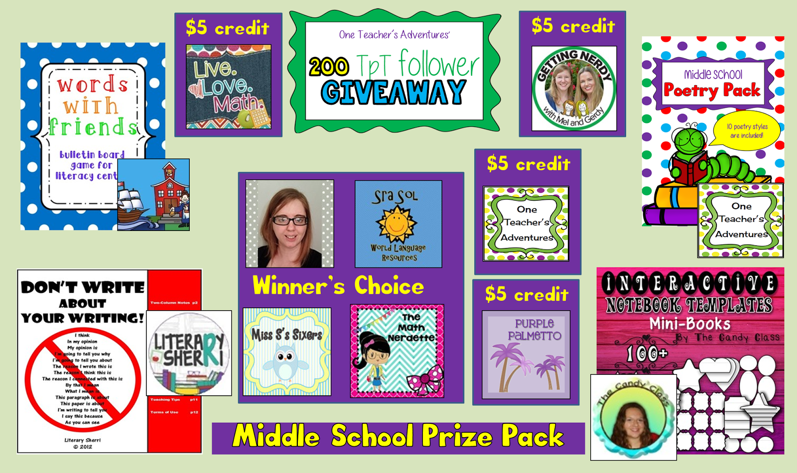 http://oneteachersadventures.blogspot.ca/2014/07/200-tpt-follower-giveaway.html