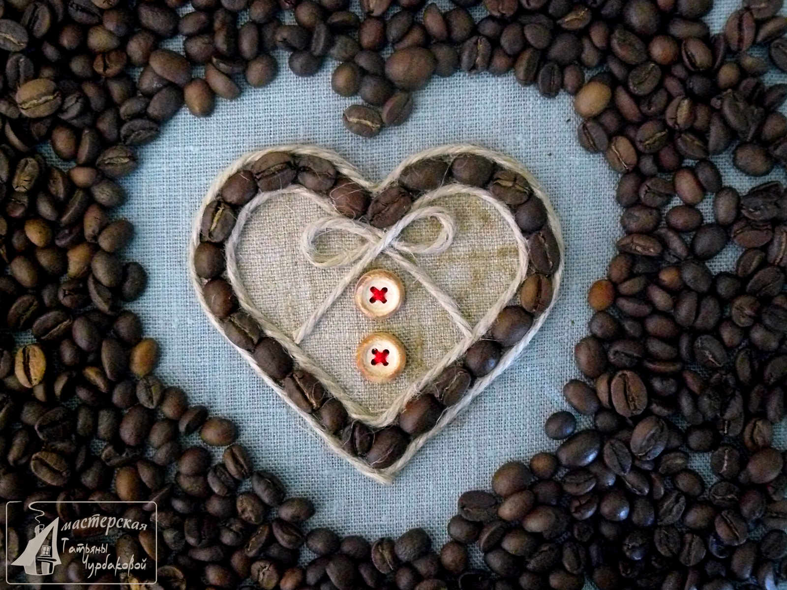кофейное сердце магнит фото