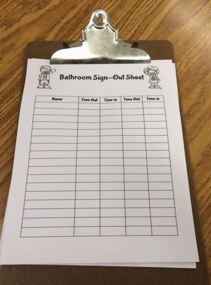 An Apple For The Teacher Bathroom Passes And SignOut Sheets Freebie