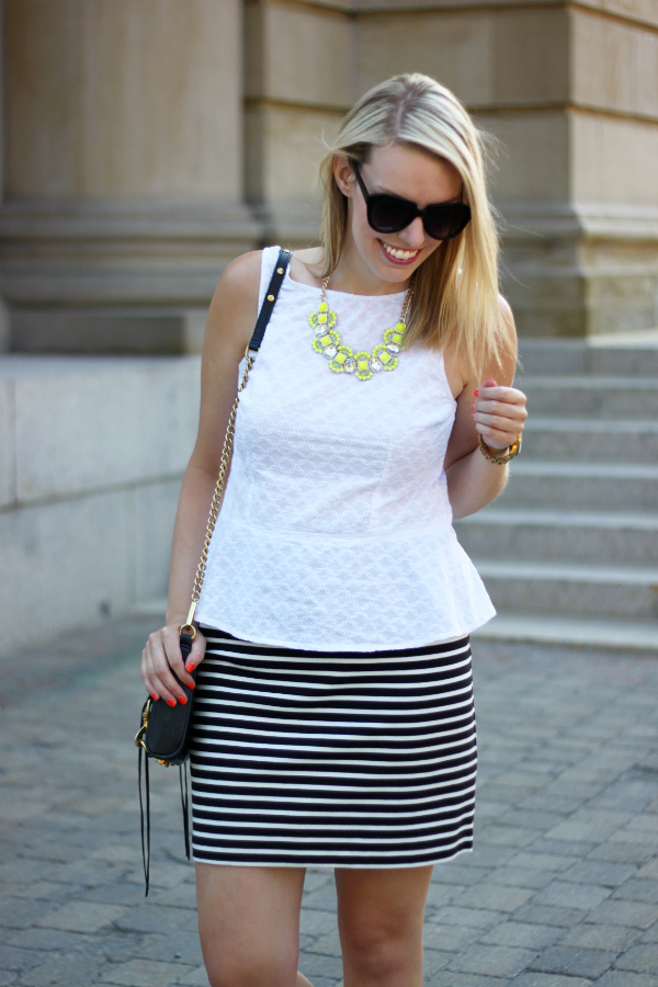 white peplum, white peplum top, eyelet peplum, white eyelet, black and white striped skirt, jacob, smart set, canadian fashion blogger, neon statement necklace