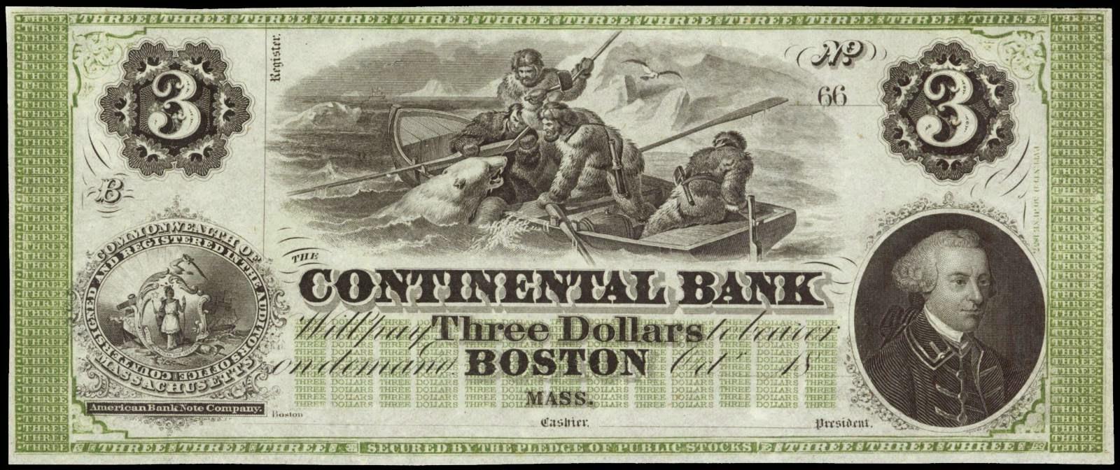 Obsolete Notes 3 Dollar Polar Bear Note