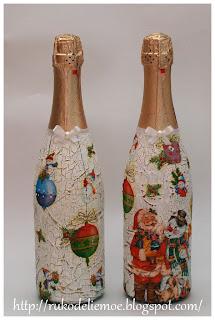 декор бутылки, декупаж, новогоднее шампанское