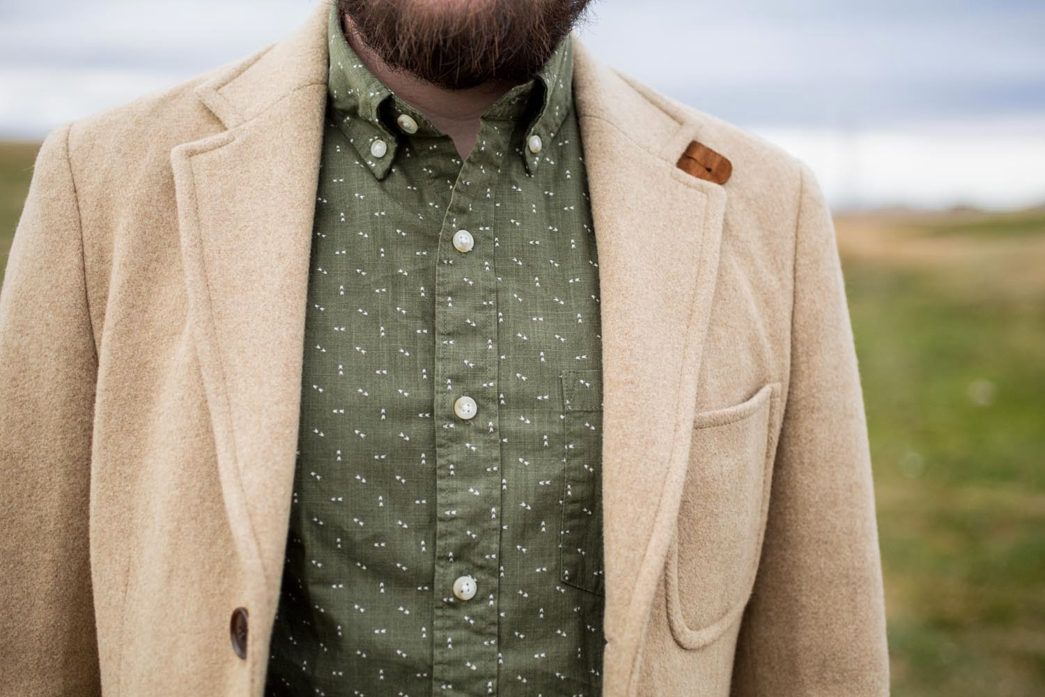 GANT Camel Hair Coat and a JCREW patterned button up
