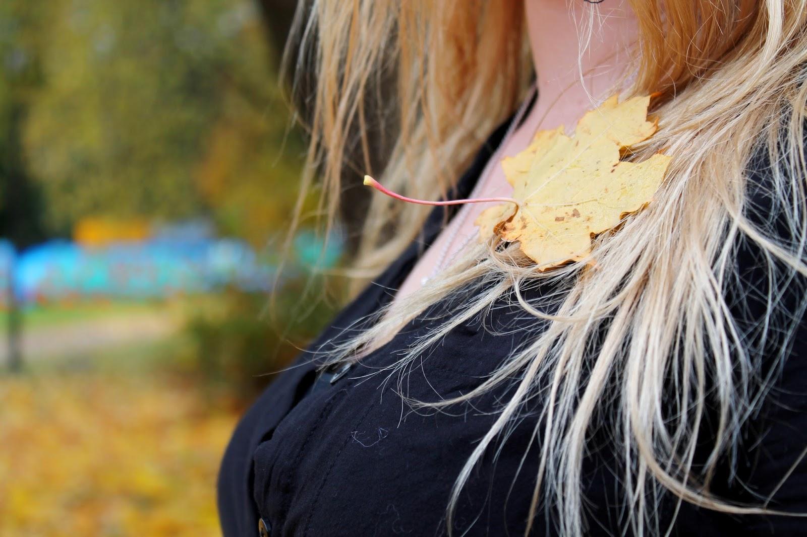 leaf, autumn, fall, seasons, changing, stuck, hair, beauty, kosmetics, hius, kampaus, koriste, piece, accessorize, accessories, in, hiukset, tyyli, black