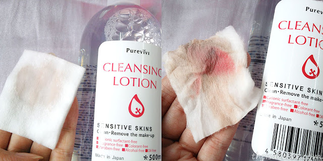 Removing makeup with Alovivi Purevivi Cleansing Lotion