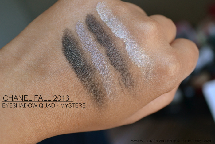Chanel Mystere 43 Eyeshadow Quad Fall 2013 Superstition Makeup Collection Indian Darker Skin Beauty Blog Swatches Review Photos FOTD Smokey Eye Looks