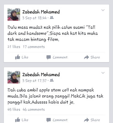 post facebook makcik Zabedah