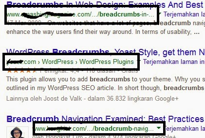 Breadcrumb on search engine