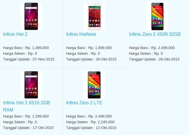 Daftar Harga Hp Infinix November 2015