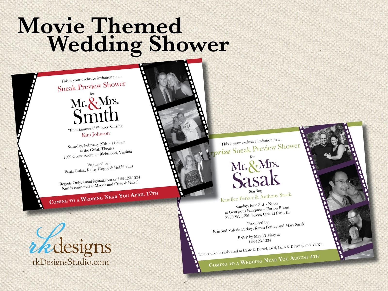 Movie themed invitation template