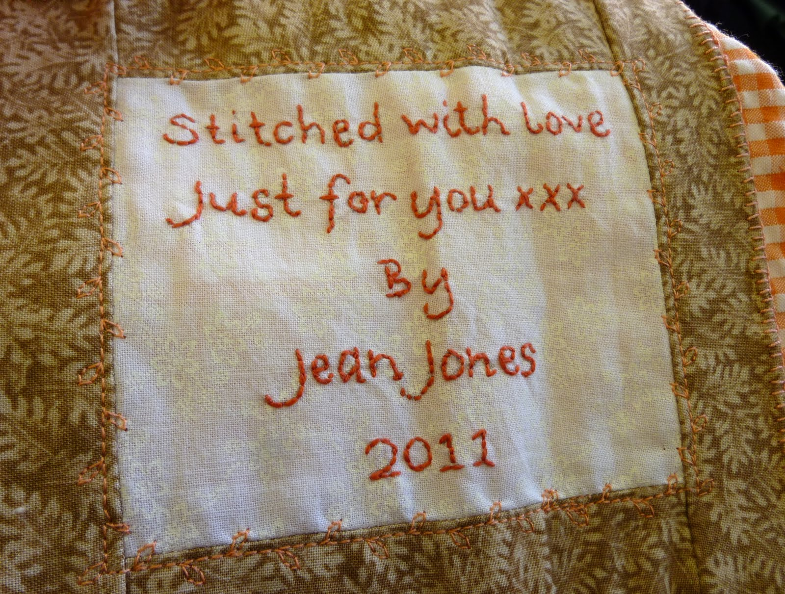 And Finally Finished Off With A Hand Embroidered Quilt Label, That Is  Embellished With More