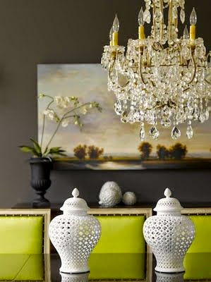 beautiful gray dining room green pop of color