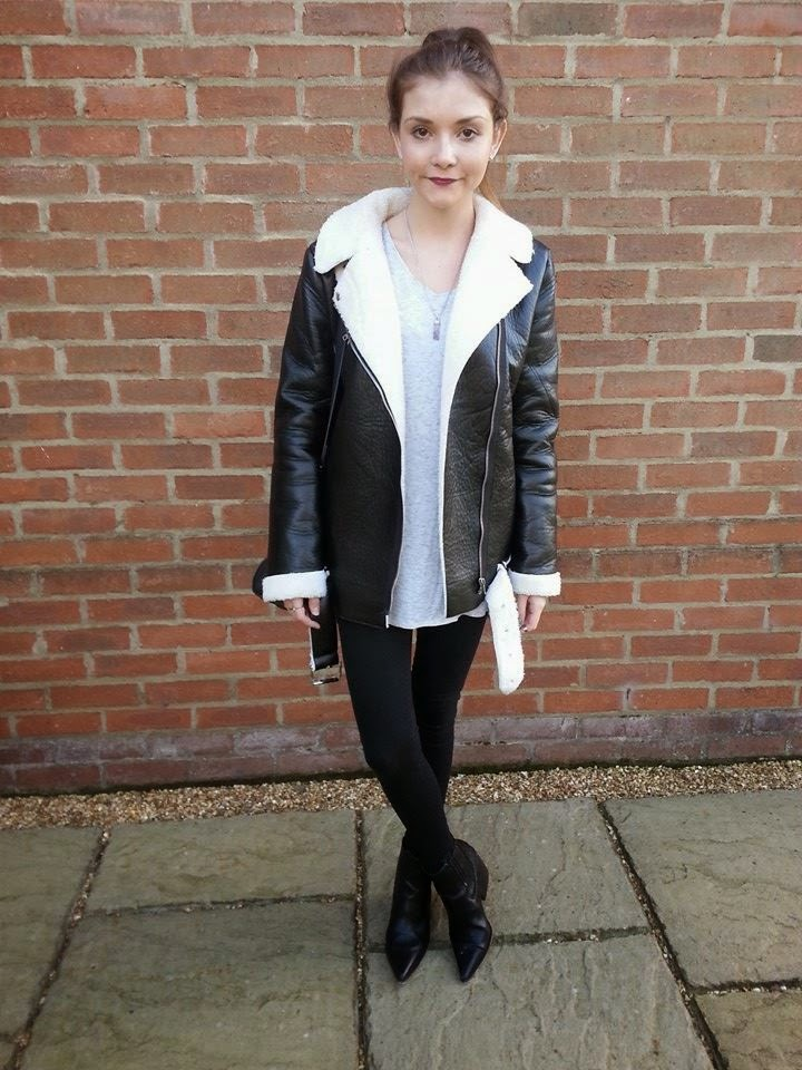 Missguided shearling jacket street style outfit fashion blogger