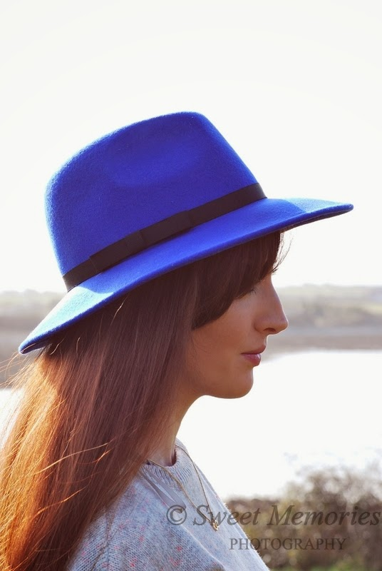 Blue fedora hat Miss Selfridges