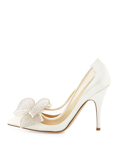 Kate Spade white heeled pumps with bow