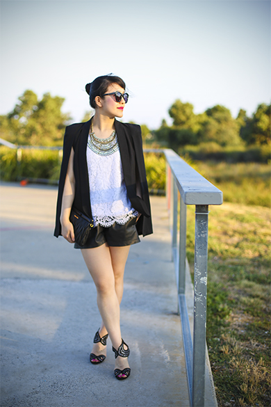 Banana Republic lace top with Theory leather shorts