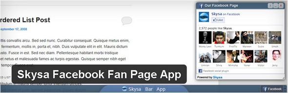 Skysa Facebook Fan Page App Plugin