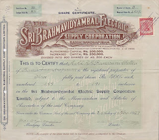 share of Sri Brahmavidyambal Electric Supply Corporation, Limited