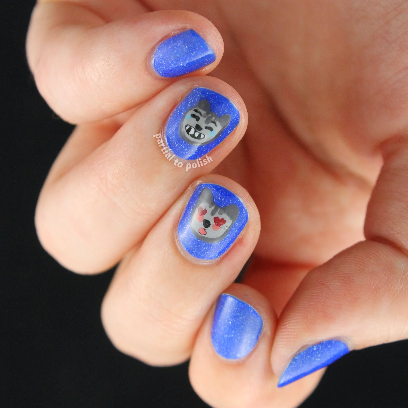 Cat Emoji Nails Featuring piCture pOlish Forget Me Not