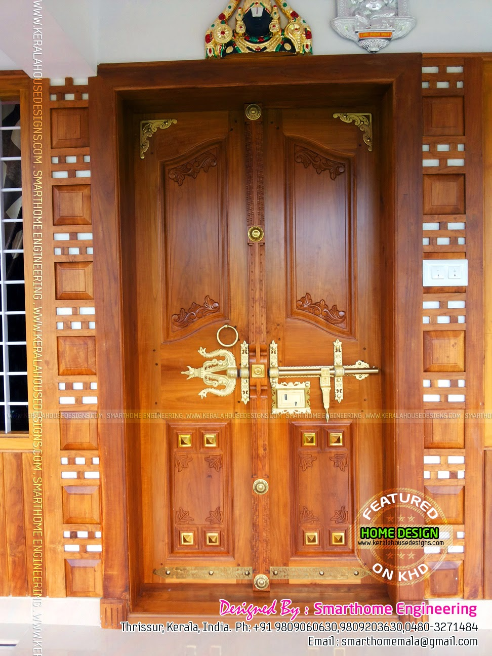 Furnished house with photos kerala home design and floor for Traditional wooden door design ideas