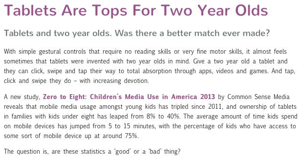 Screenshot of Nickelodeon's Parents Blog webpage.